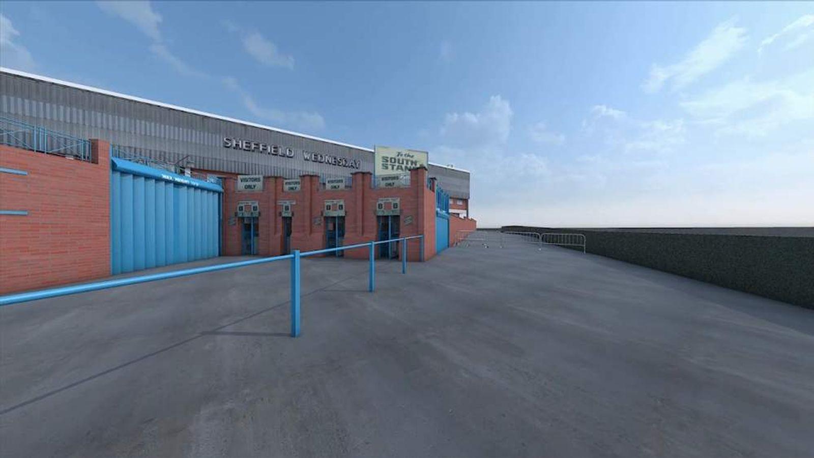 3D graphic of Sheffield Wednesday stadium shown to Hillsborough inquest