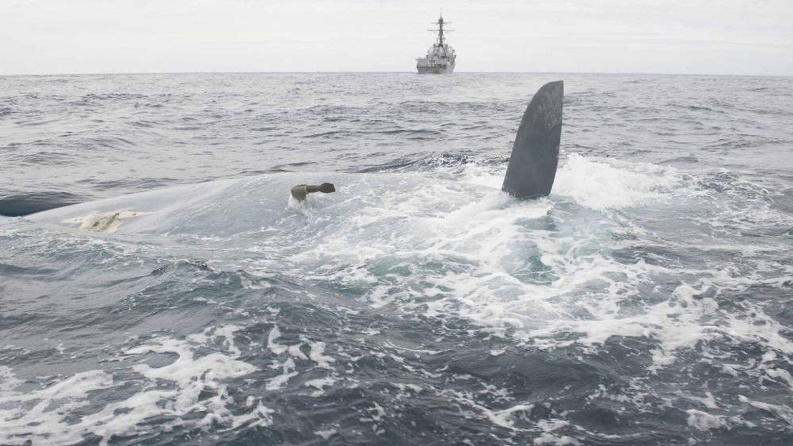 overturned hull of Cheeki Rafiki. Pic: US Coast Guard District 1