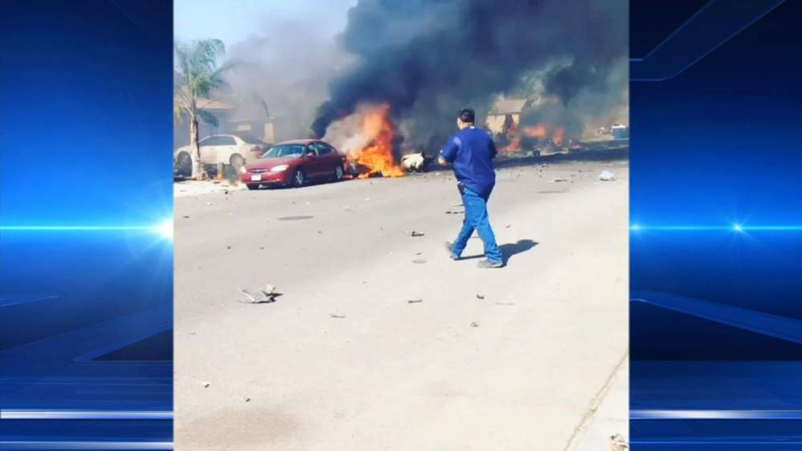 The aftermath in a southern California neighbourhood following a jet crash.
