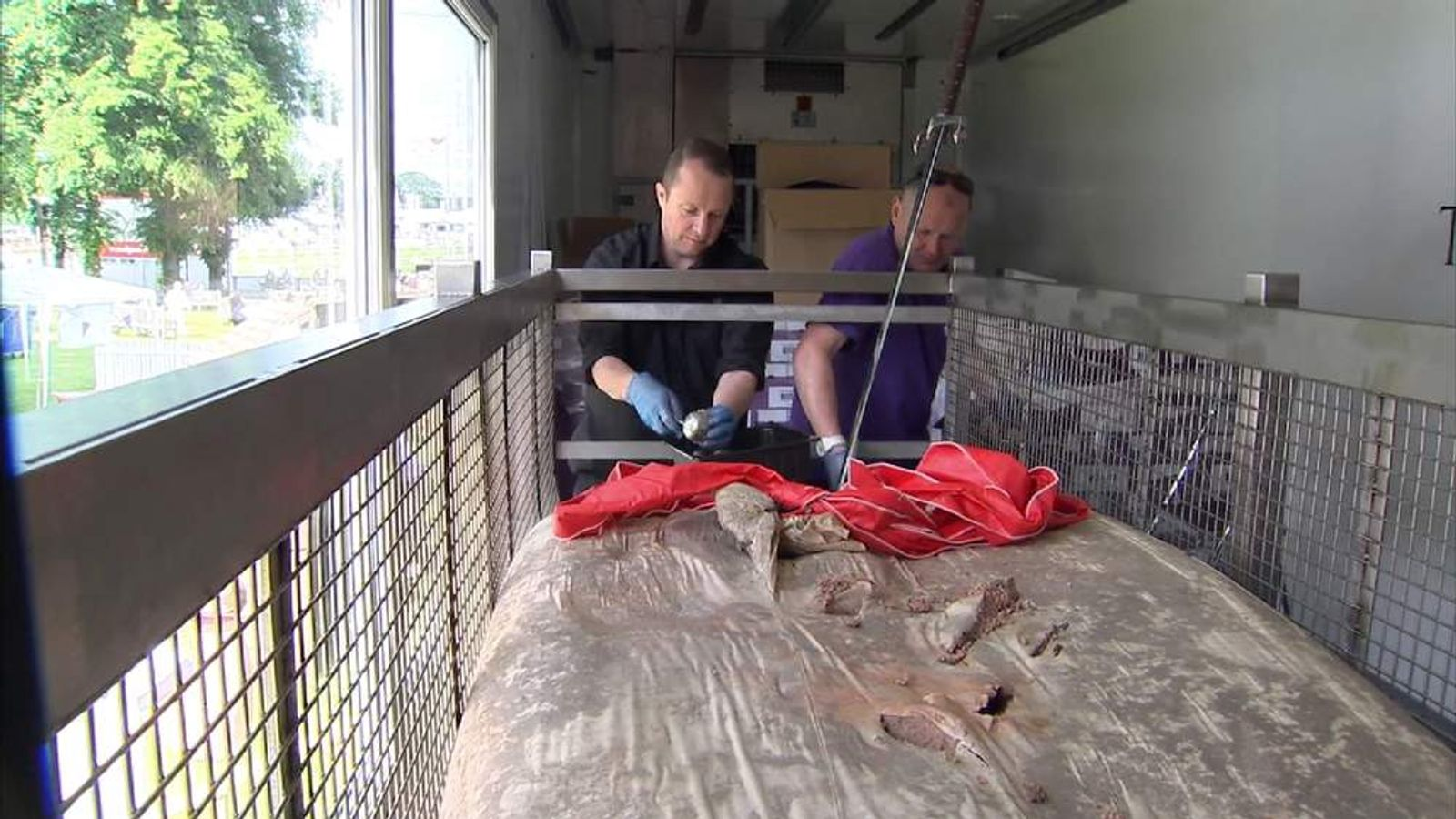 World record breaking haggis is portioned up to be sold