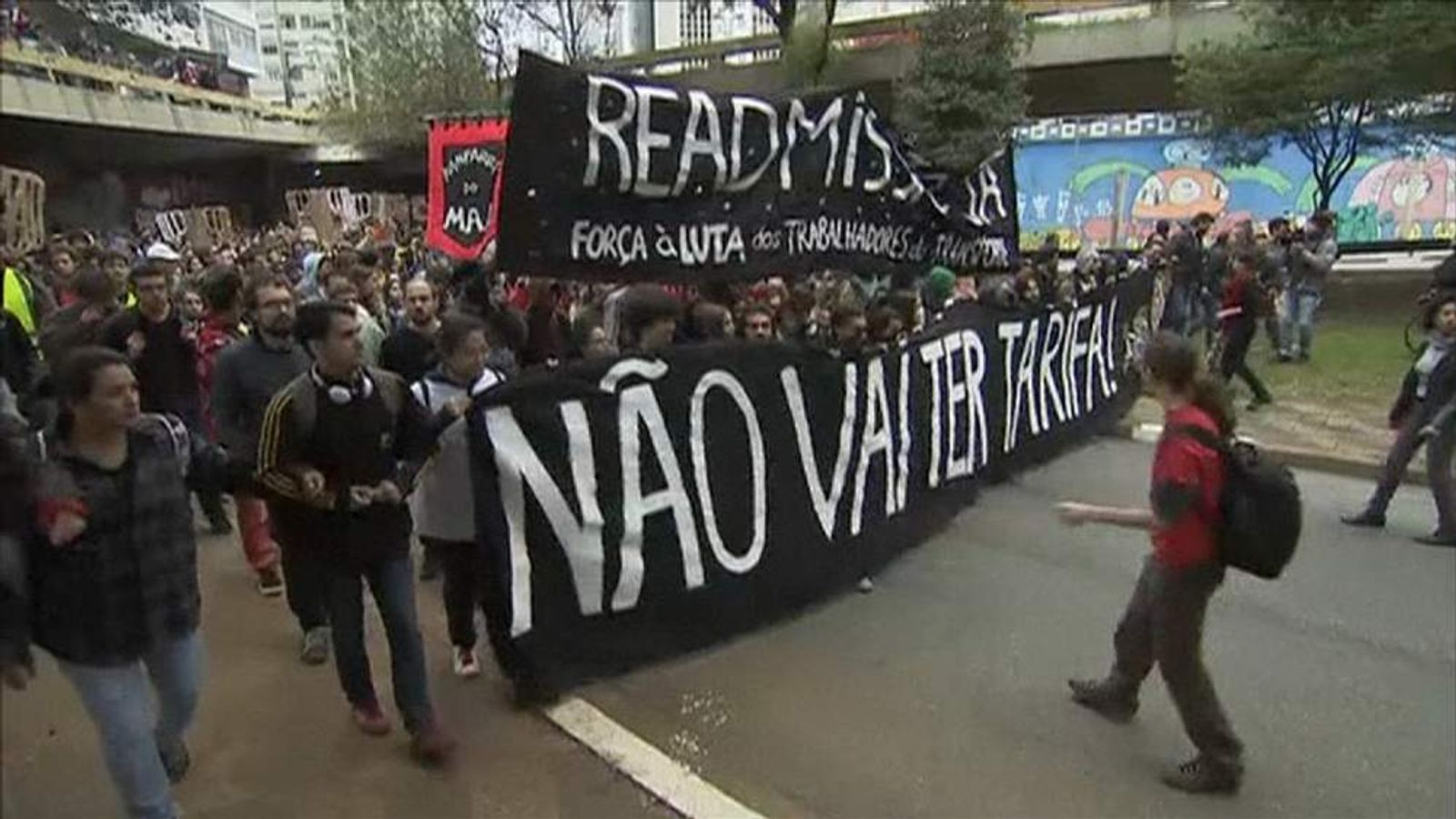 Protesters march through Sao Paulo to demand free public transport