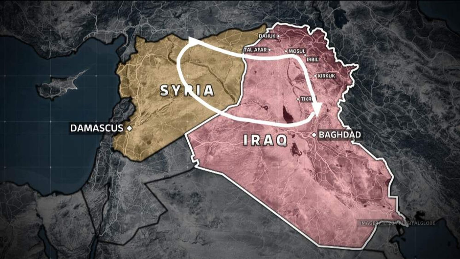 """The rough outline of ISIS's """"caliphate""""."""