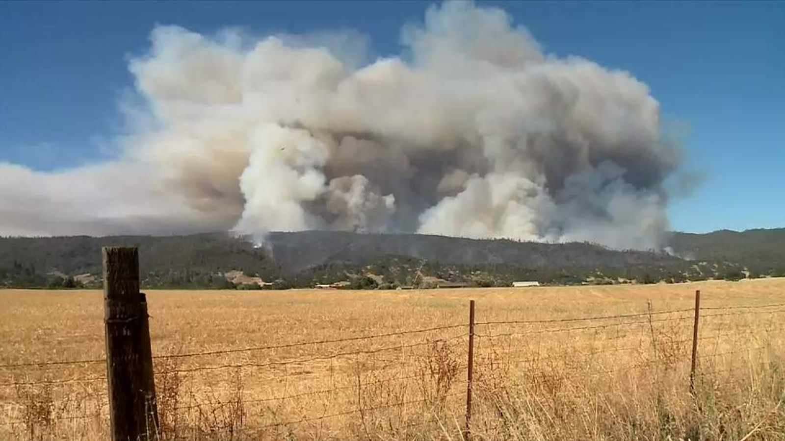 A wildfire rages in California's Napa County