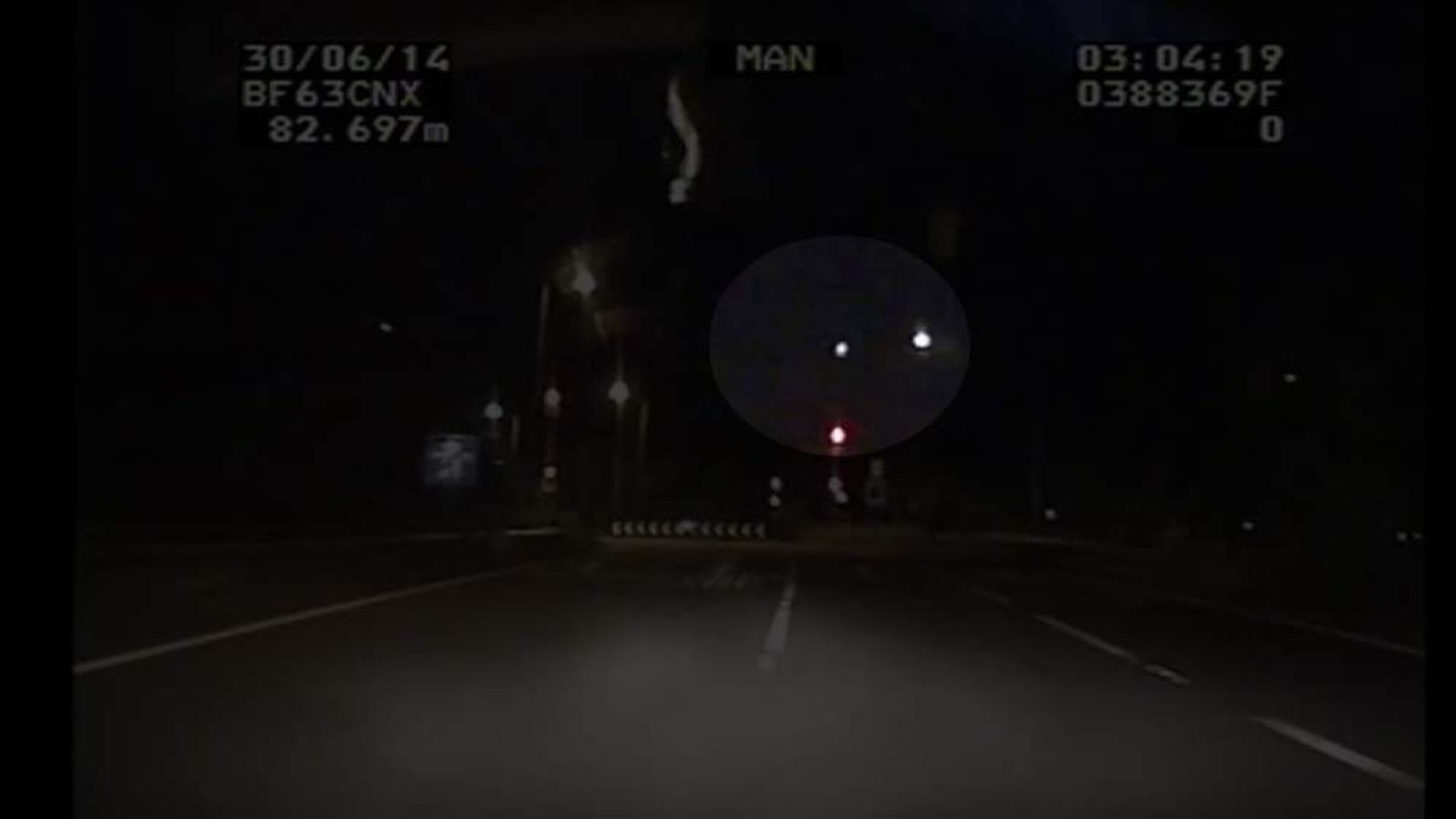 A West Midlands Police car's dash-cam films a meteor