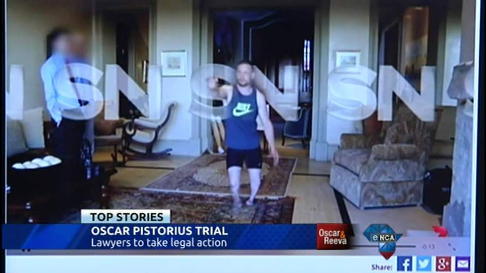 Oscar Pistorius seen re-enacting the night he shot and killed Reeva Steenkamp.