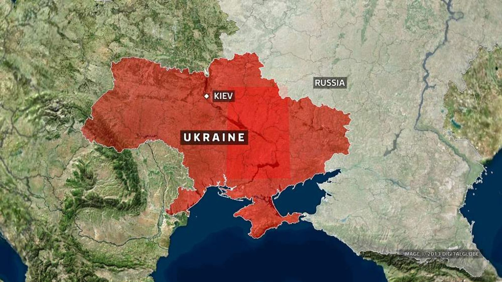 A map showing Ukraine and Russia