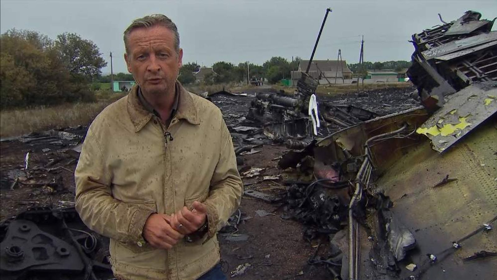 Sky's Stuart Ramsay at the MH17 crash scene