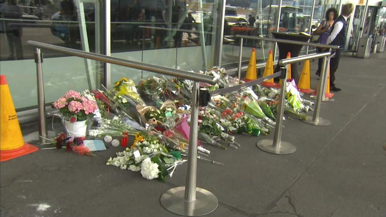 Flowers for the victims of flight MH17 at Amsterdam's Schiphol Airport.