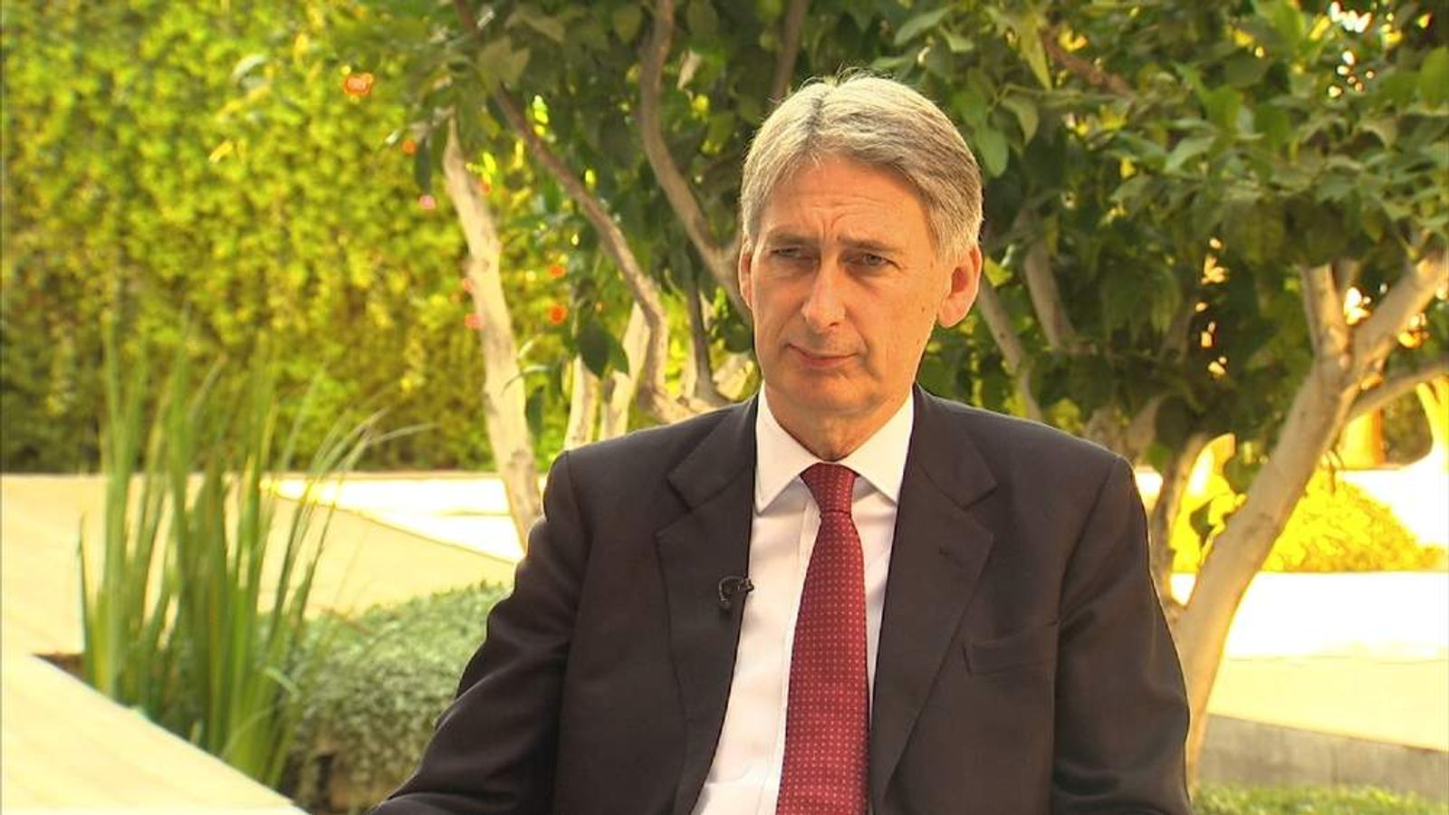 Foreign Secretary Philip Hammond speaks to Sky News