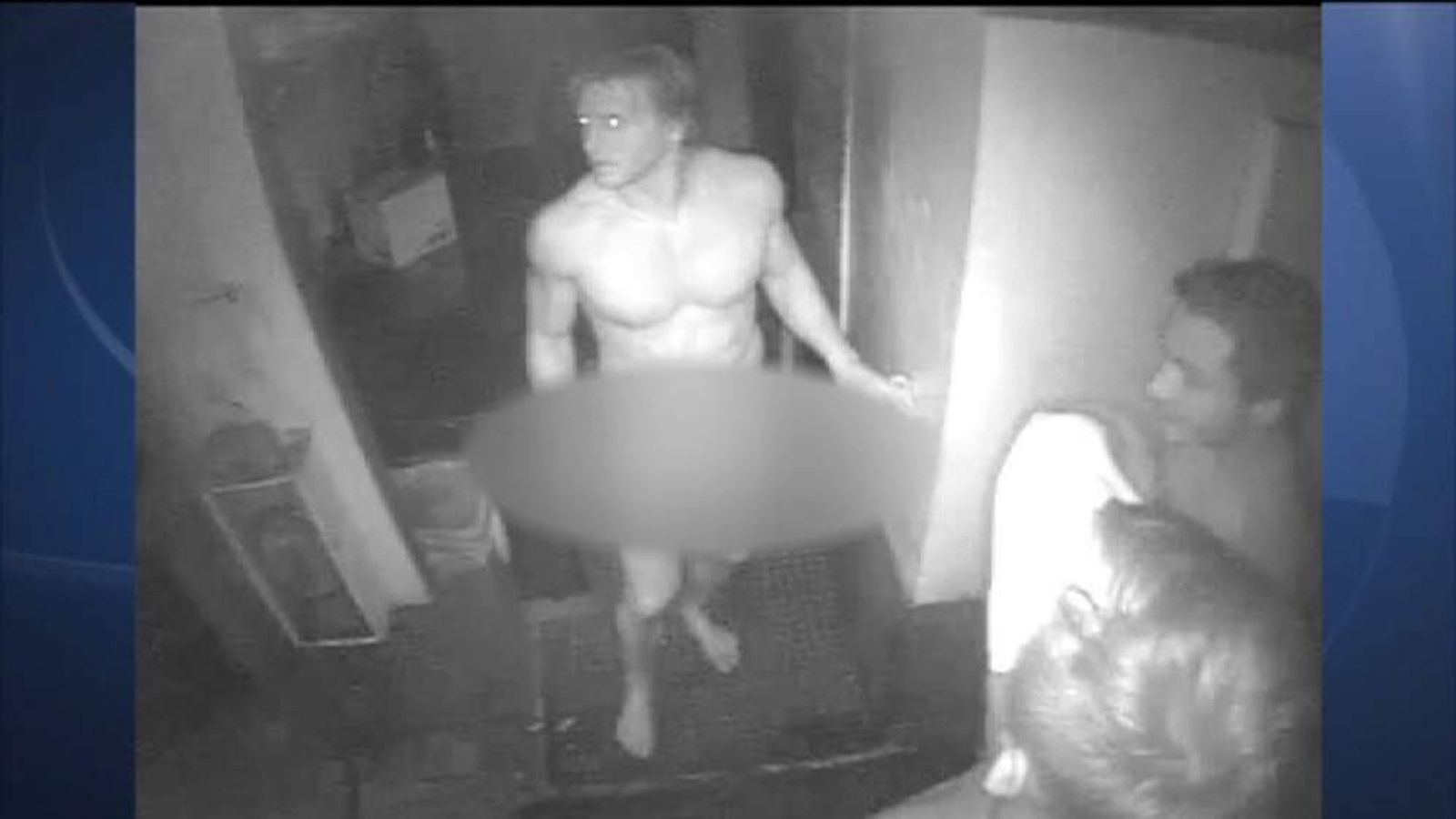 Three naked burglars caught on CCTV stealing hamburgers