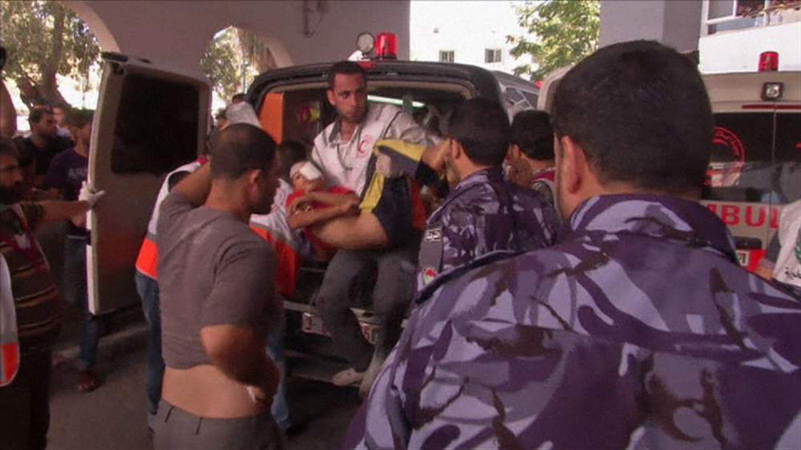 Injured children are rushed to Gaza hospital after Israeli shelling