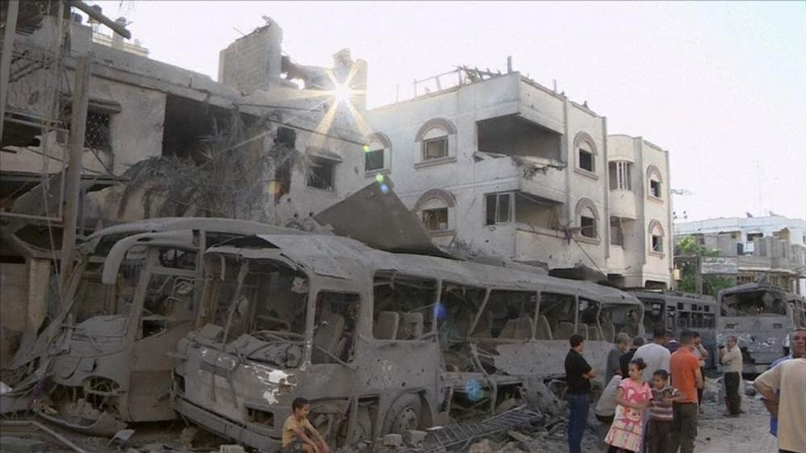 The aftermath of an airstrike in Gaza that targeted Hamas military chief Mohamed Deif.