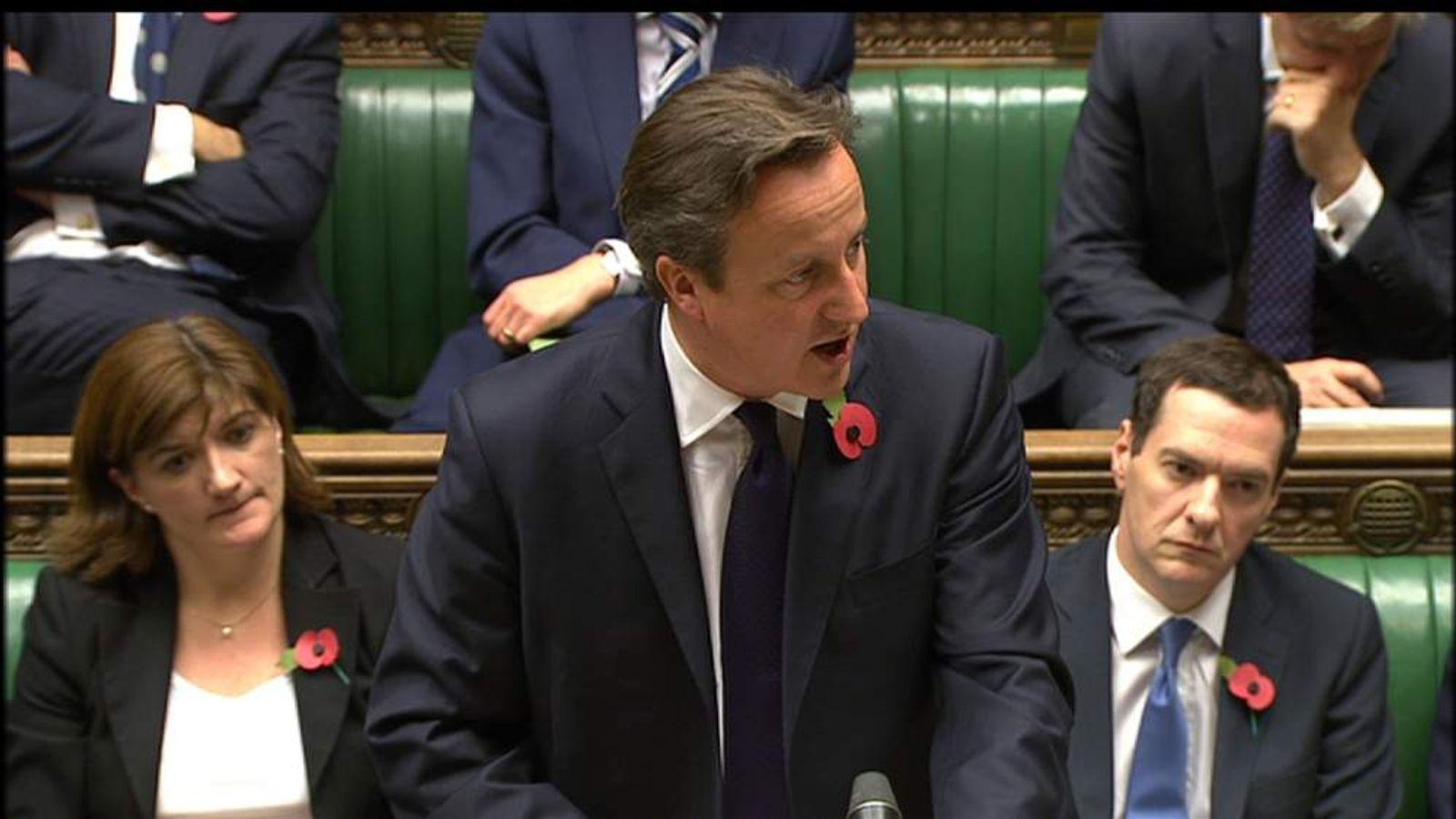 David Cameron speaks to Commons on Euro