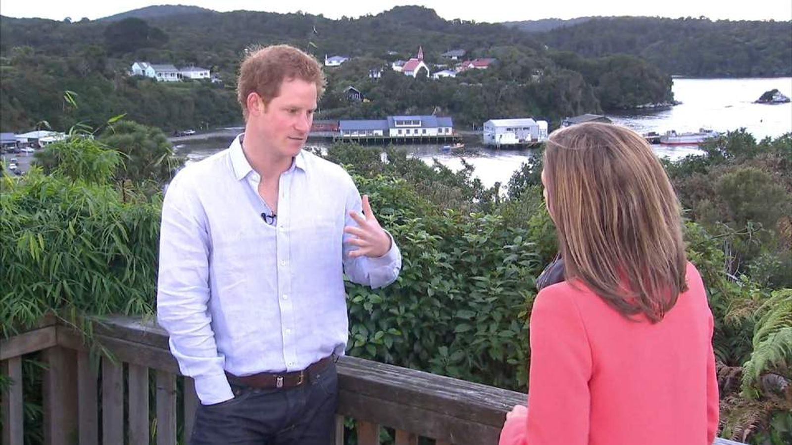 Prince Harry with Sky News Royal Correspondent Rhiannon Mills