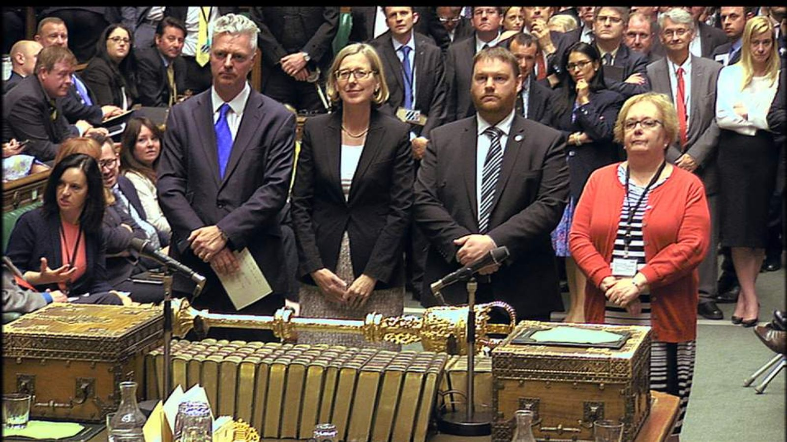 The vote results being announced in the House of Commons