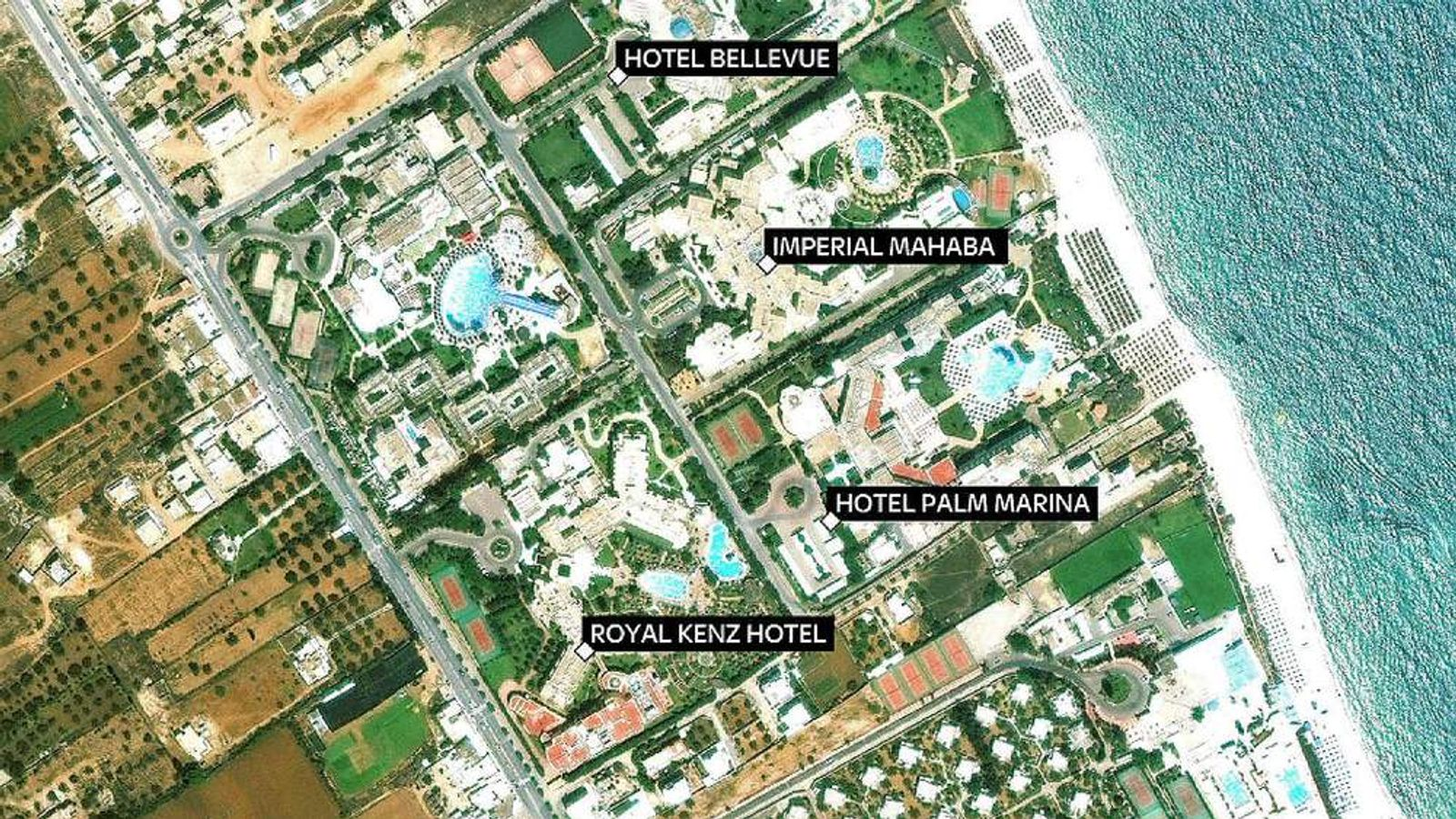 Map of gun attacks on tourist hotels in Sousse, Tunisia