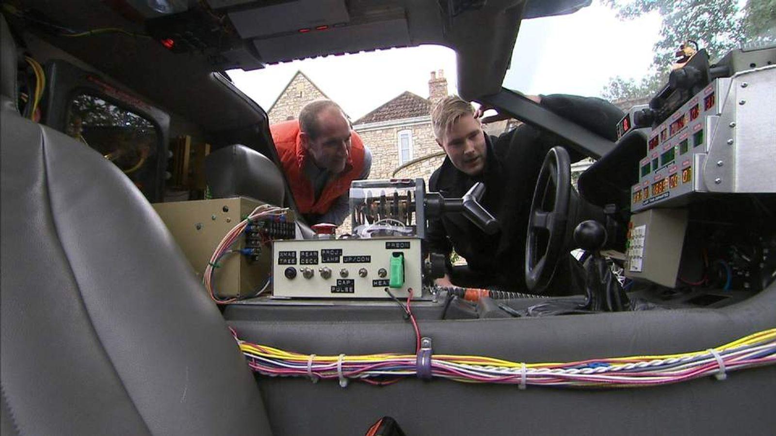 Inside a DeLorean car