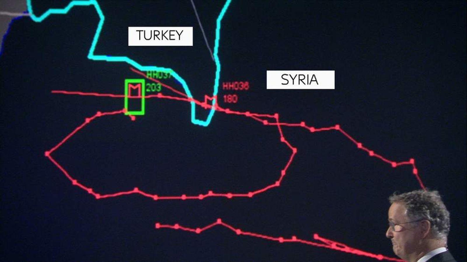 Russia jet shot down radar map
