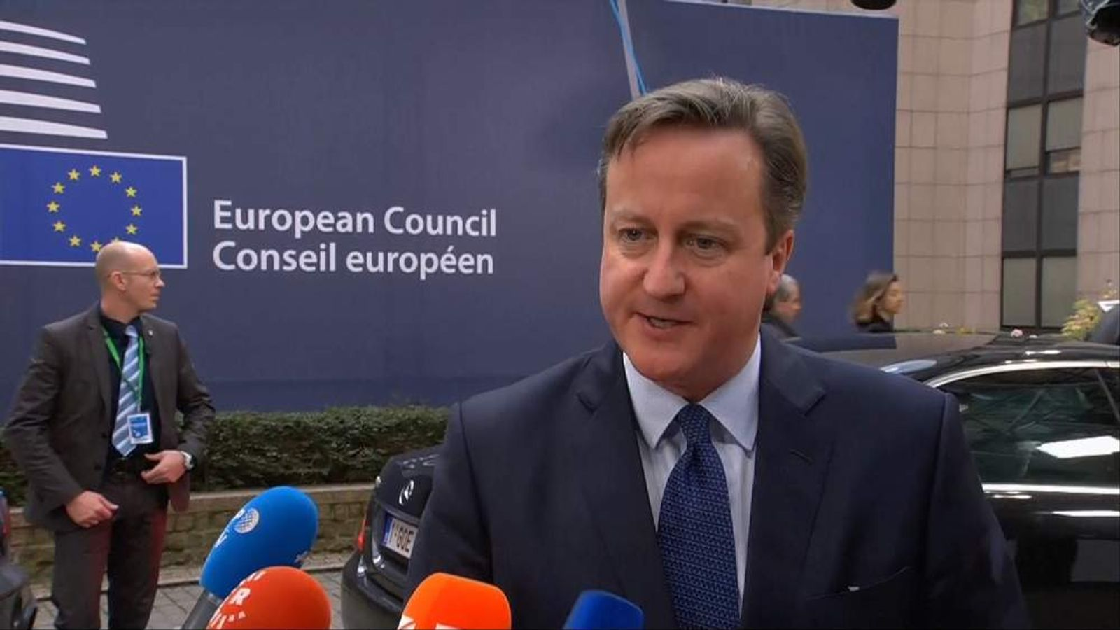 David Cameron outside European Council HQ in Brussels