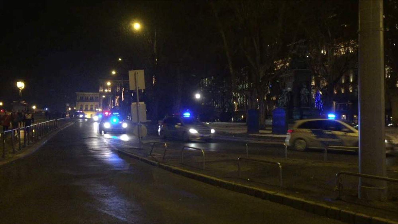 David Cameron's motorcade travels through the centre of Budapest