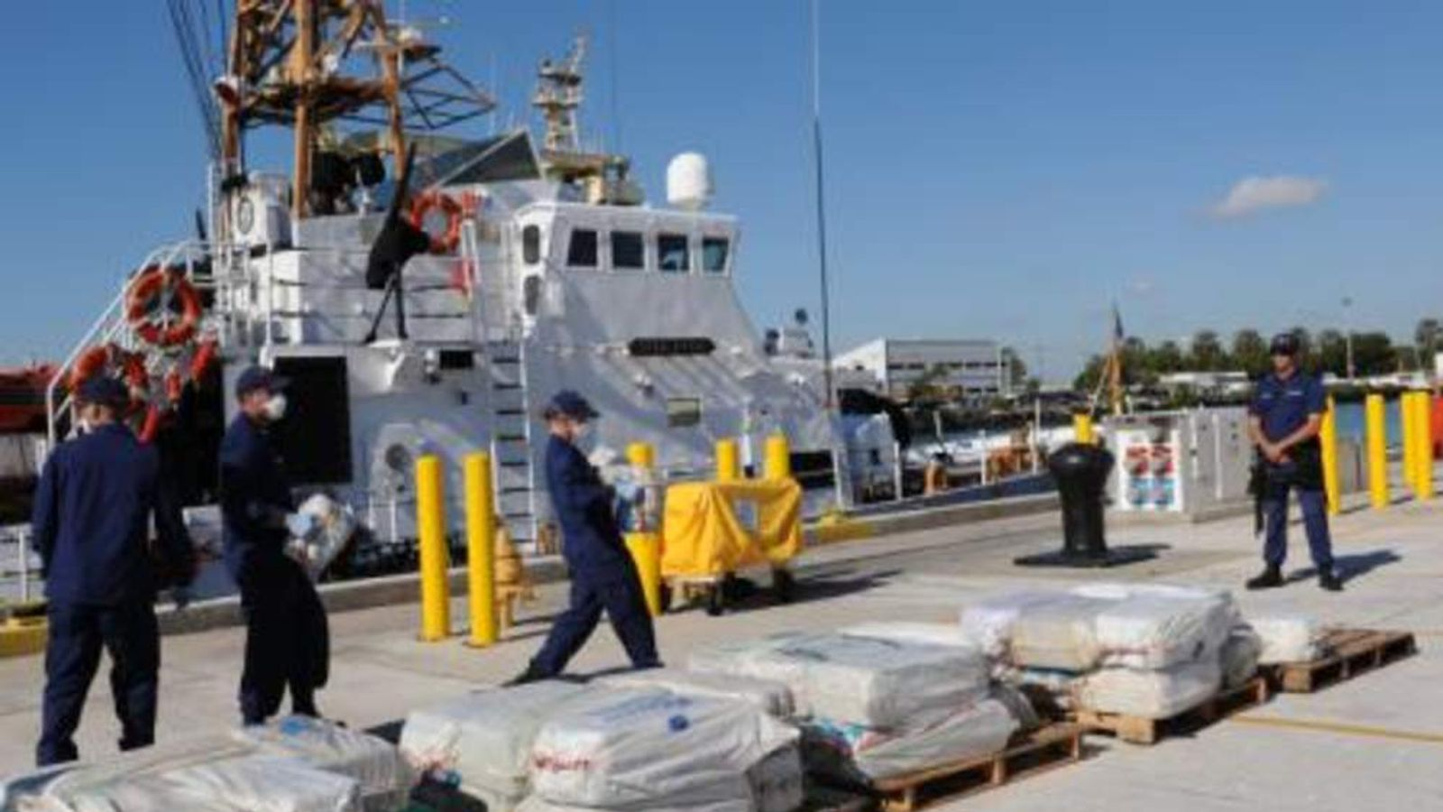 Members of the US Coast Guard offload the cocaine haul in Miami Beach