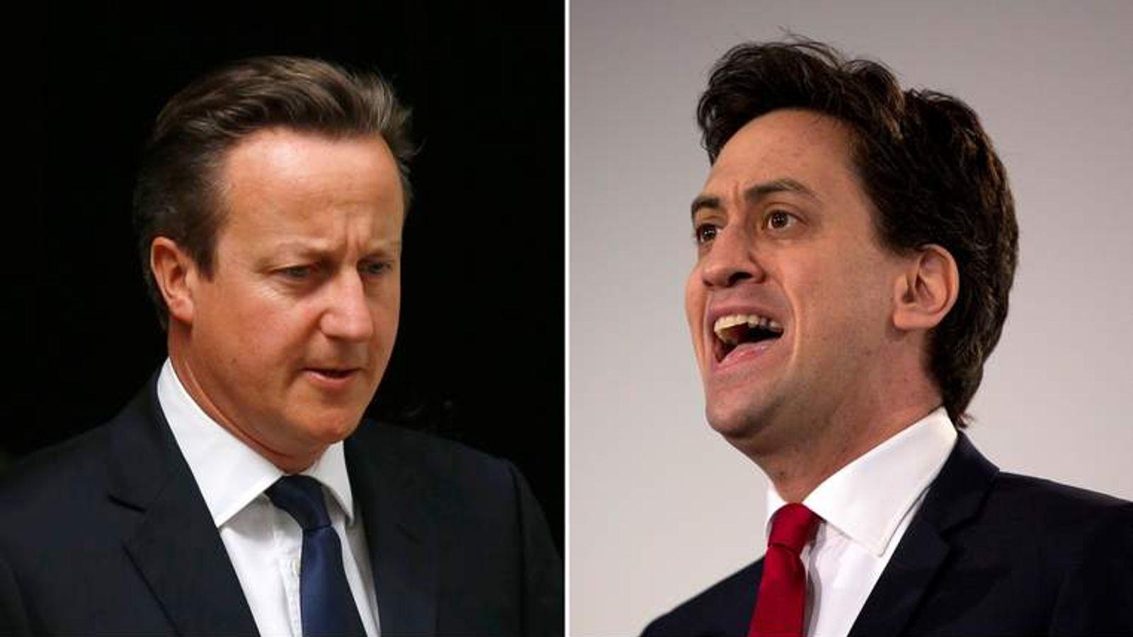 David Cameron (L) and Ed Miliband
