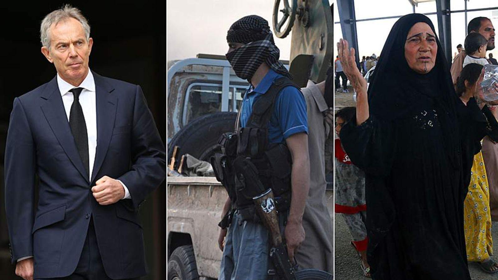(L-R) Tony Blair, ISIS militant and Iraqi civilian