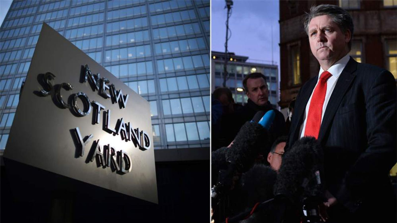 Composite image of New Scotland Yard and Detective Inspector Kevin Hyland from the Metropolitan Police