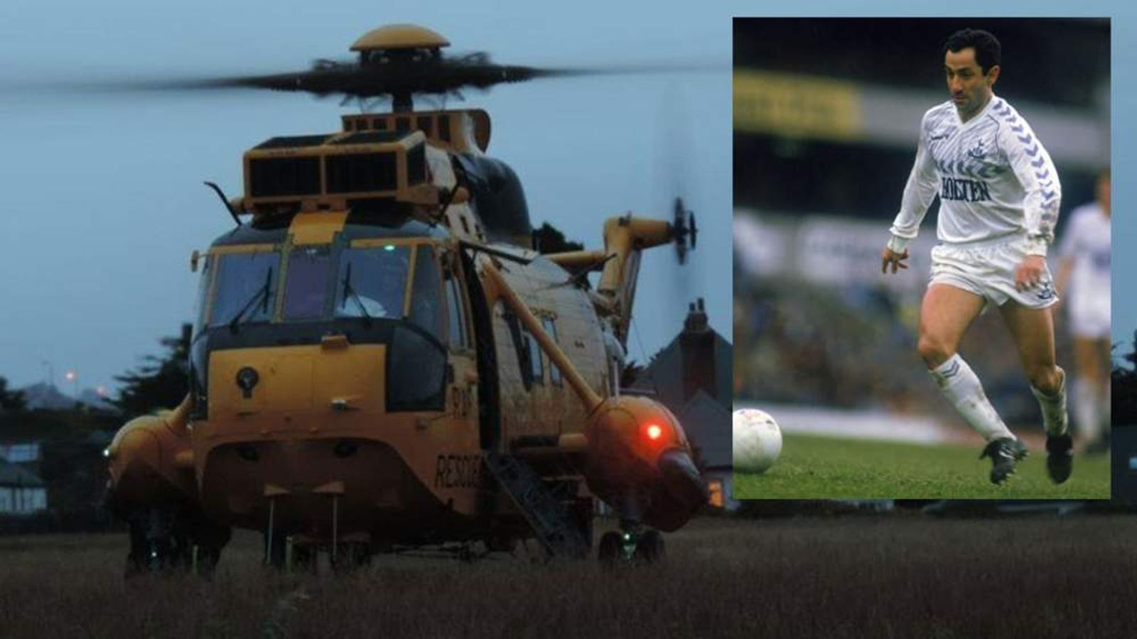 Ossie Ardiles is airlifted to a hospital in Stanley, the Falklands