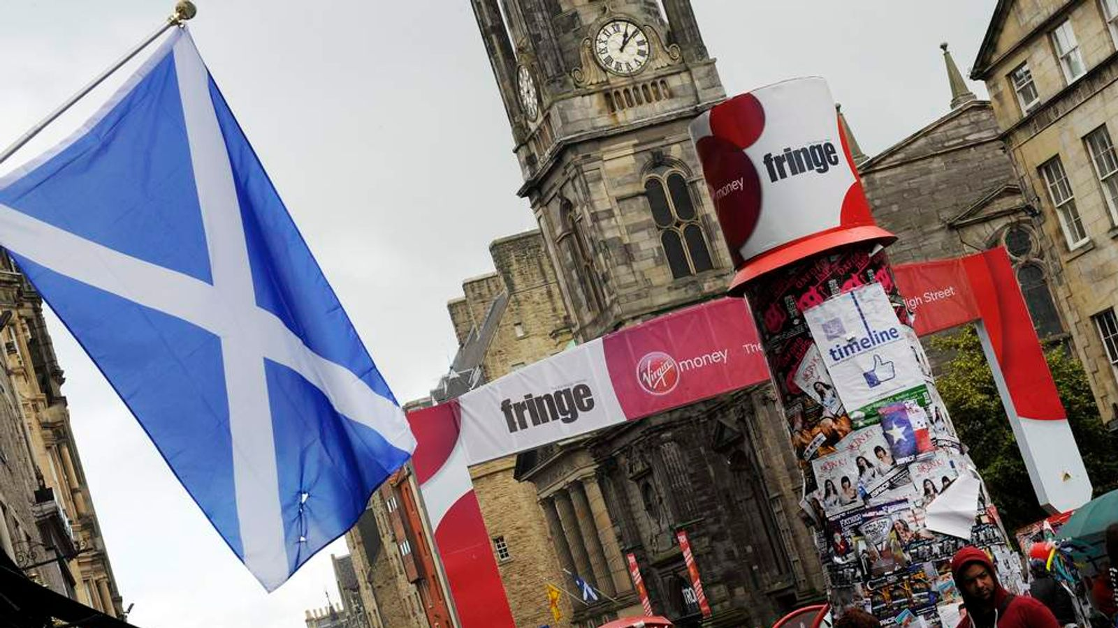 The Scottish Saltire hangs in Edinburgh during the annual Festival Fringe in 2013
