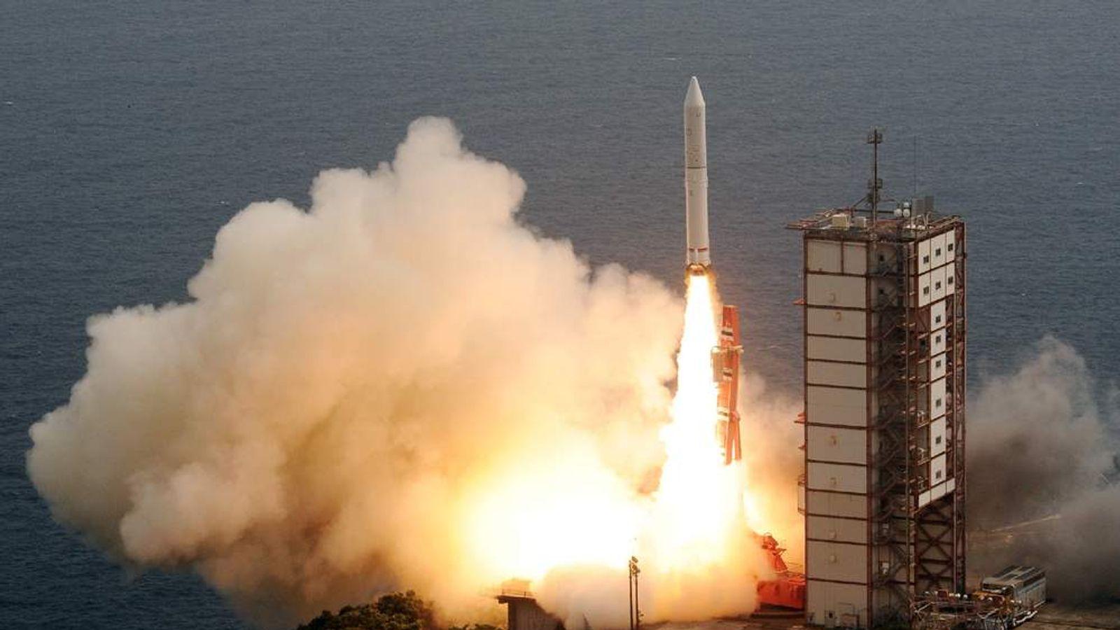 Japan's new solid-fuel rocket lifts off from the launch pad at the Japan Aerospace Exploration Agency's (JAXA) Uchinoura Space Center in Kimotsuki, Kagoshima