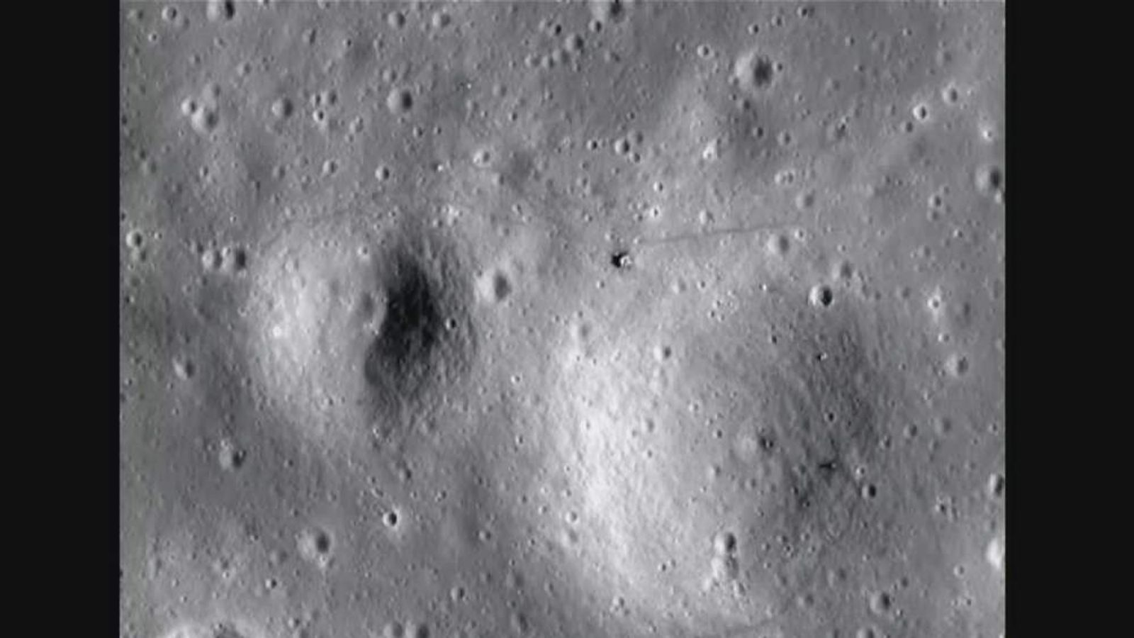 Nasa image from Lunar Reconnaisance Orbiter Camera showing US flag at Apollo 12 landing site on the Moon