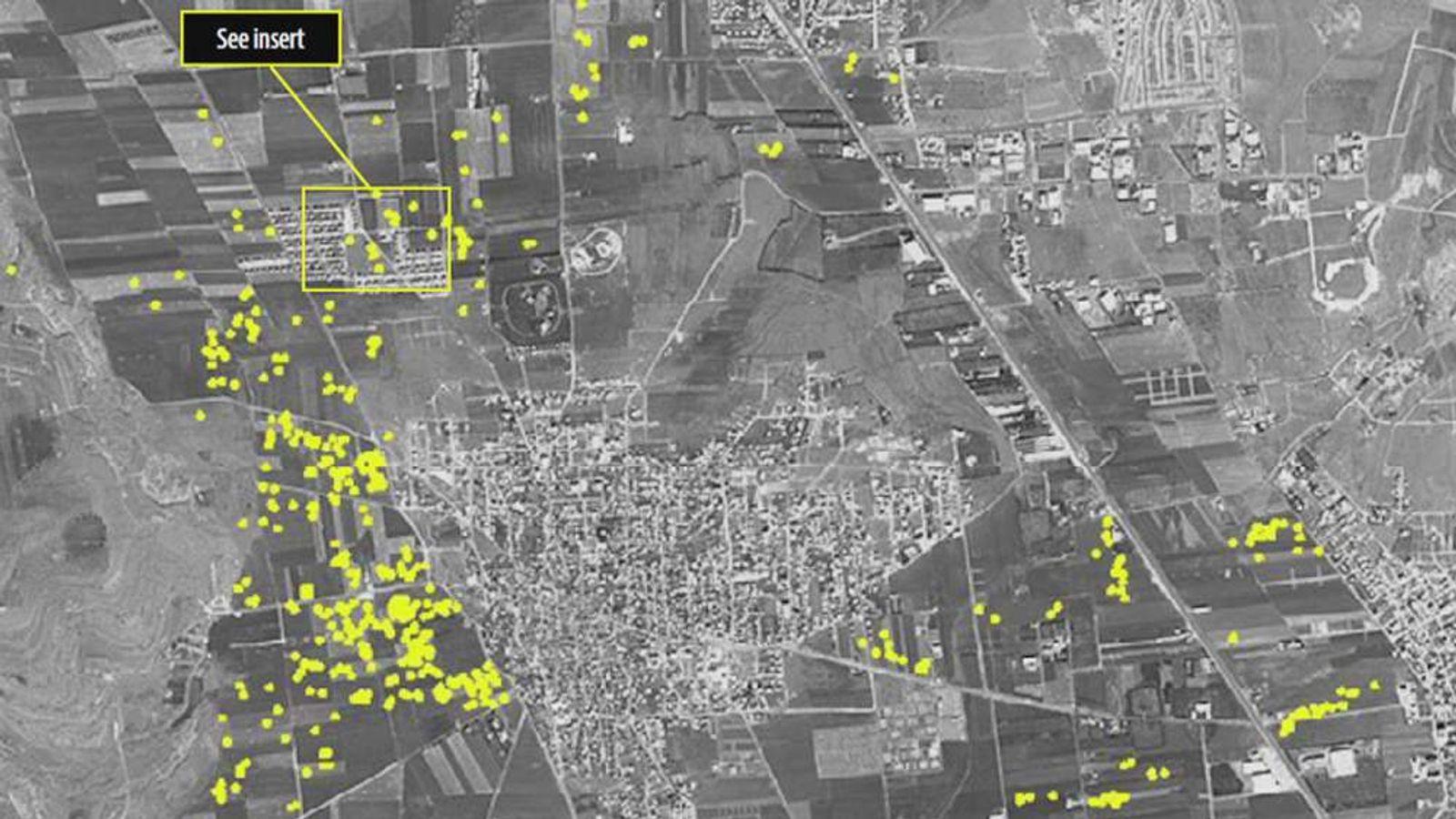 A satellite image of Aleppo