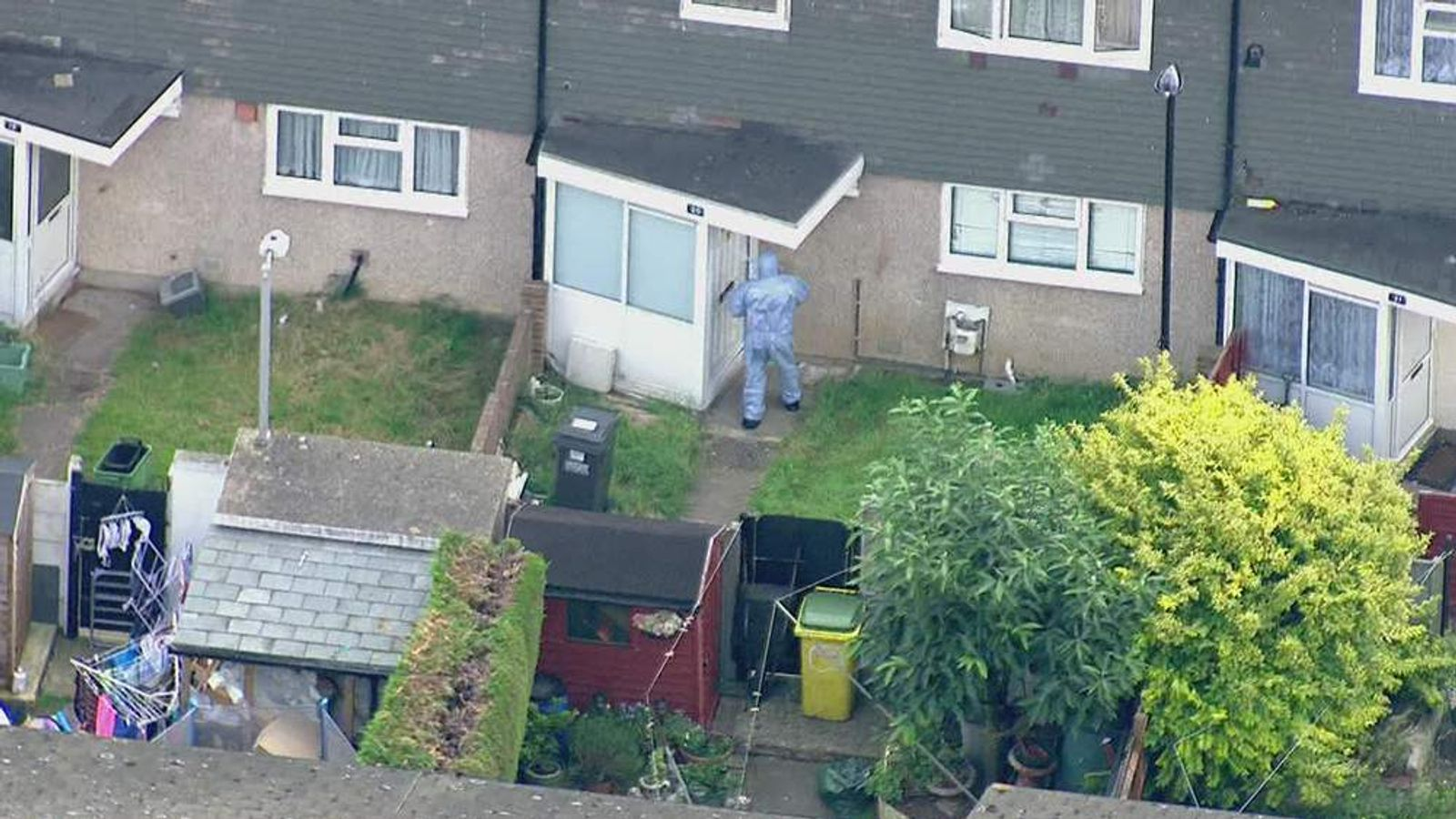 Aerial view of the scene around new addington where there has been a development in the search for missing schoolgirl Tia Sharp.