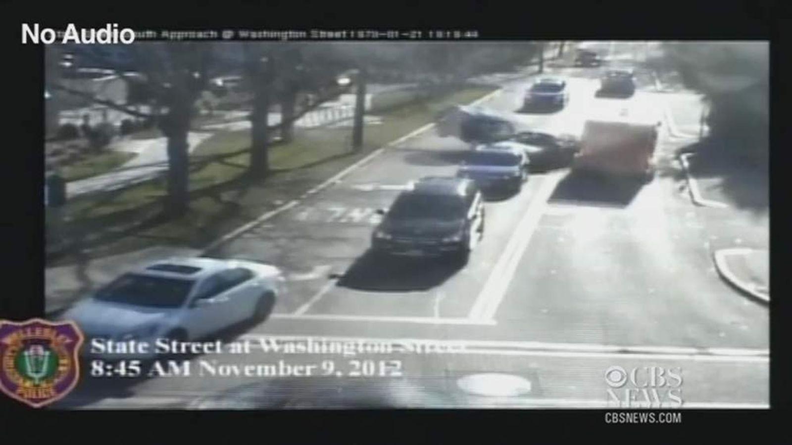 A CCTV still of the crash