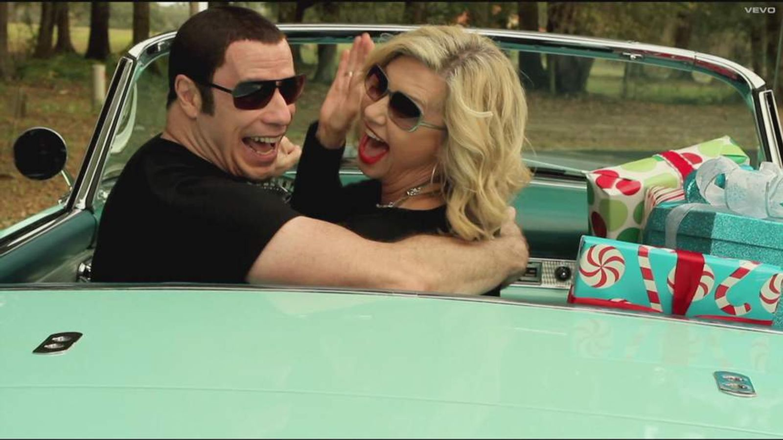 Travolta, Newton-John In Grease-Inspired Video I Think You Might Like It