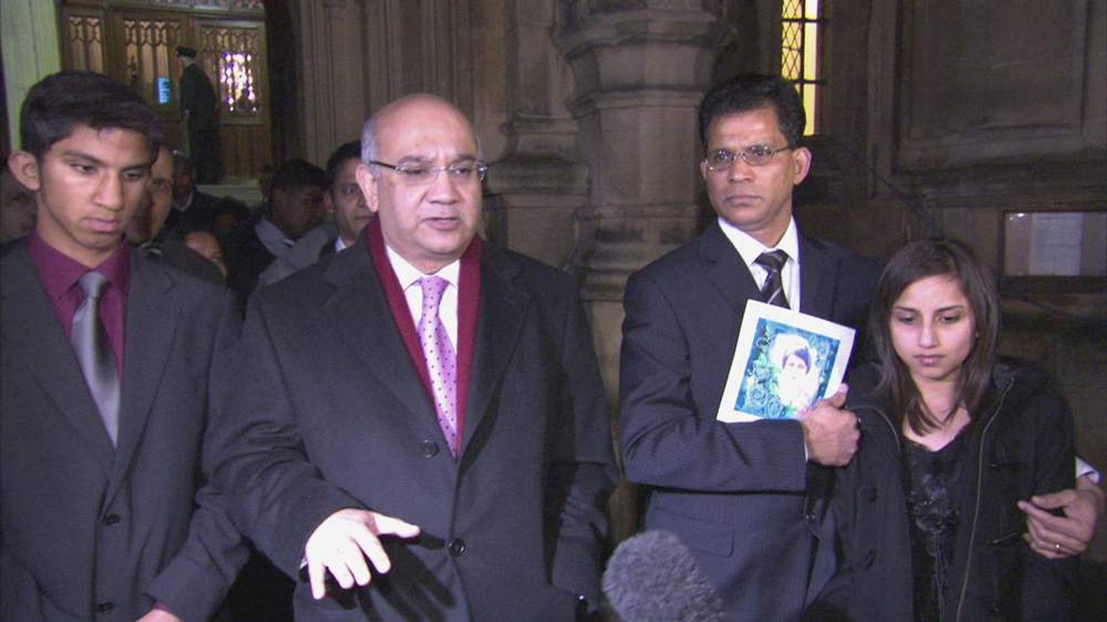 The family of Jacintha saldanha with Keith Vaz MP