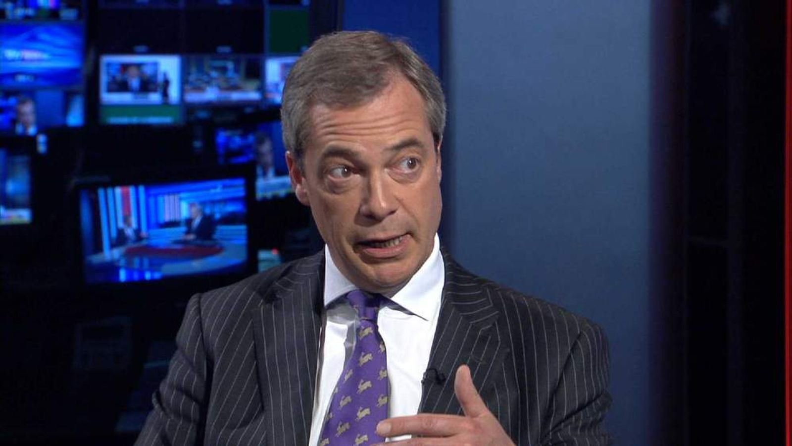 UKIP leader Nigel Farage talking to Adam Boulton