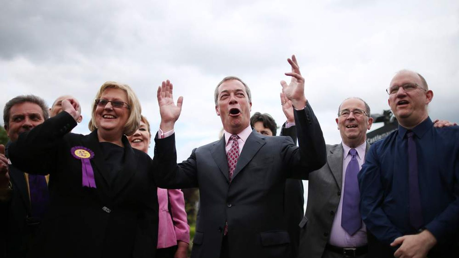 Nigel Farage celebrates after the local election results