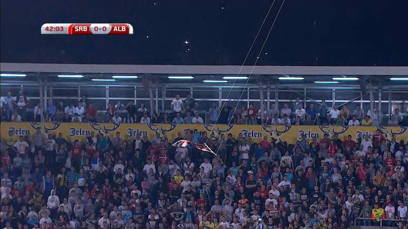 The flag suspended from the drone. Pic: Sky Sports