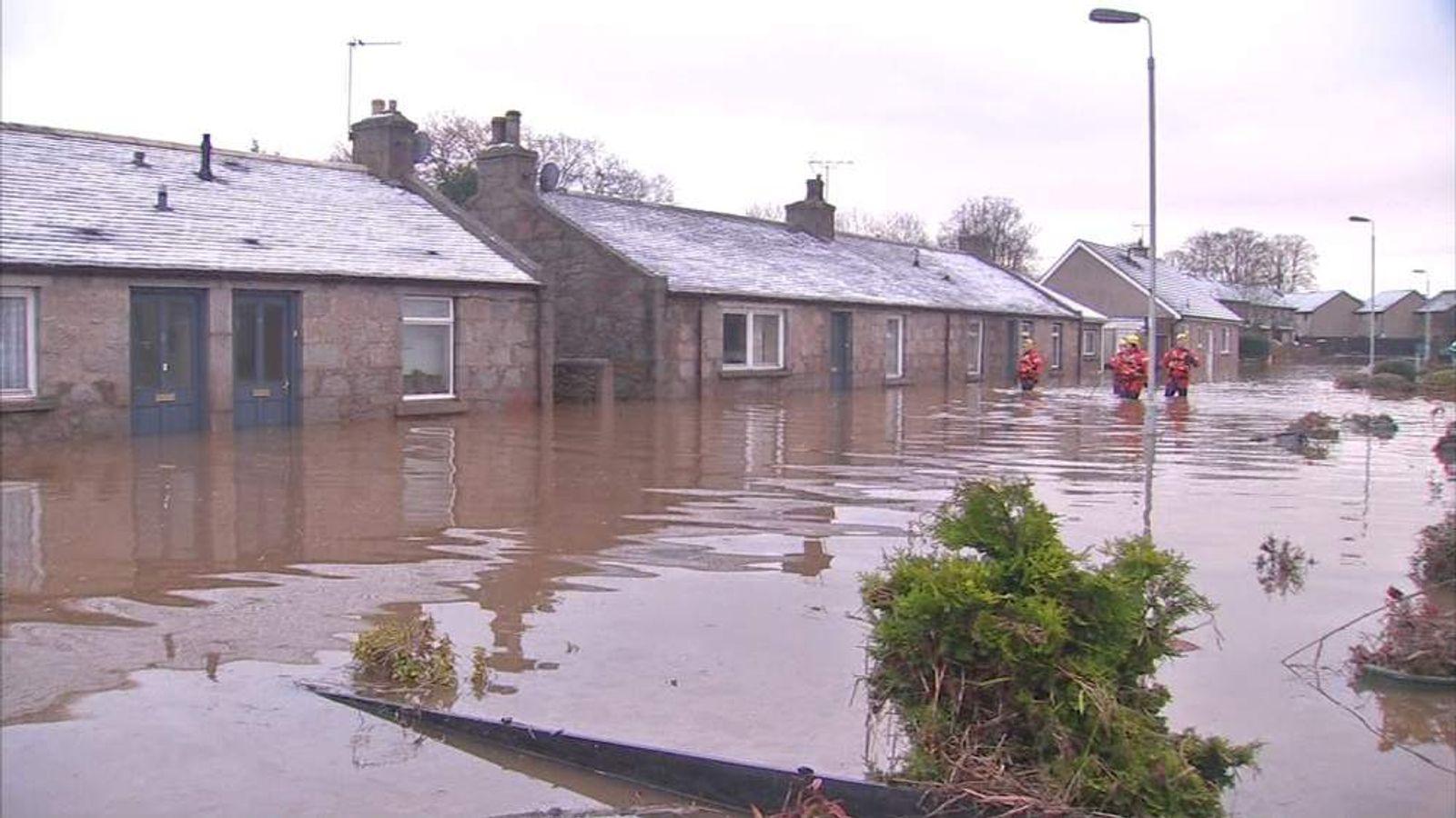 Flooding in Port Elphinstone, Aberdeenshire
