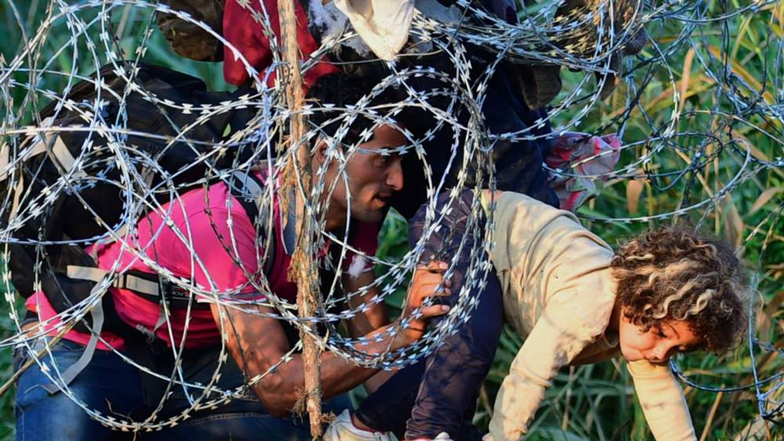 A young girl of a migrant's family is helped by her father as they creep under a barbed fence near the village of Roszke, at the Hungarian-Serbian border.