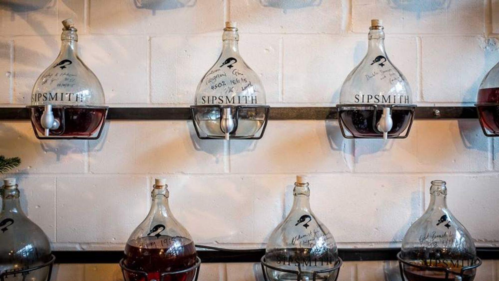 Gin bottles at Sipsmith