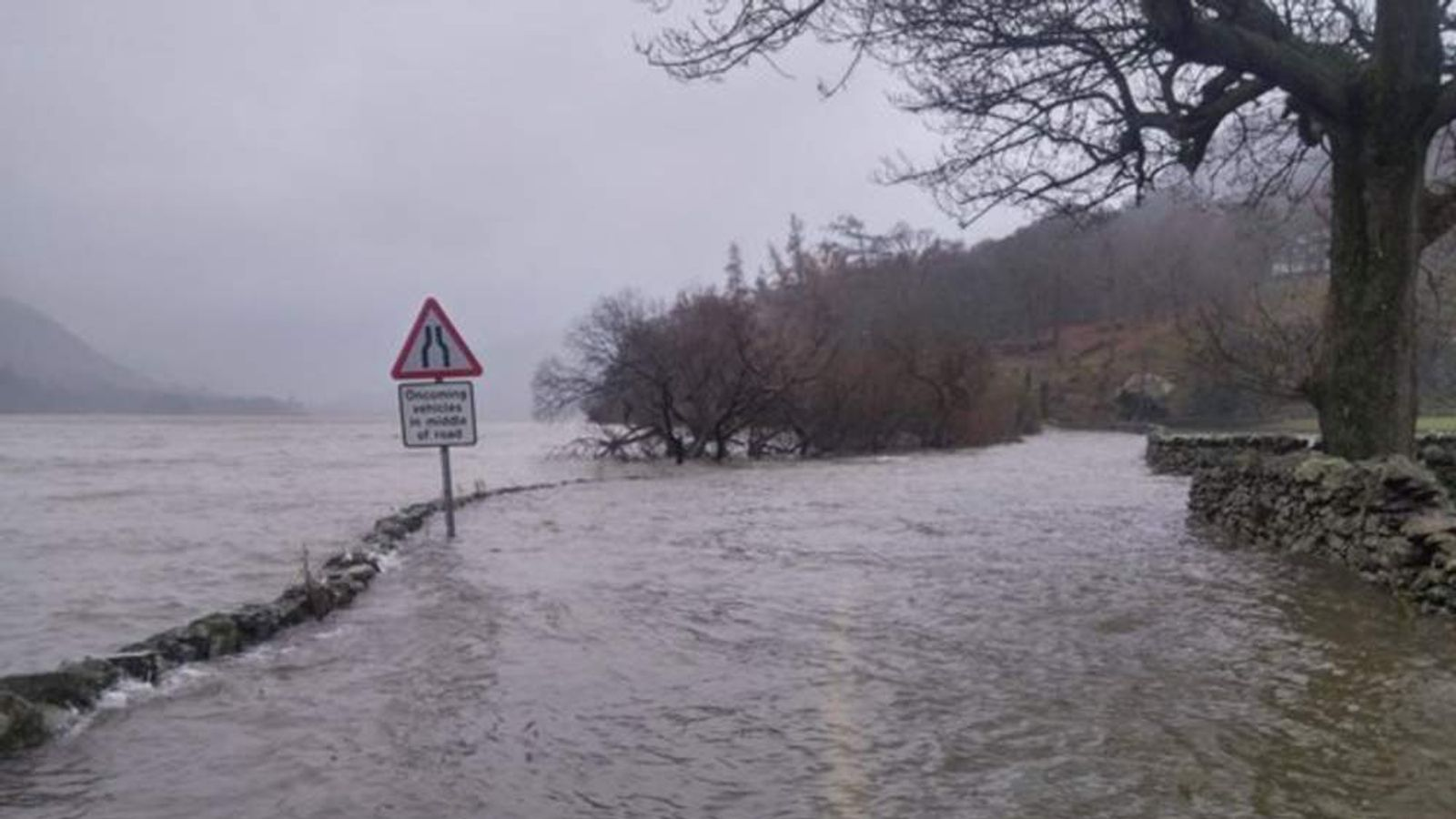 Pictures of Glenridding, Cumbria, where Ullswater has broken its banks