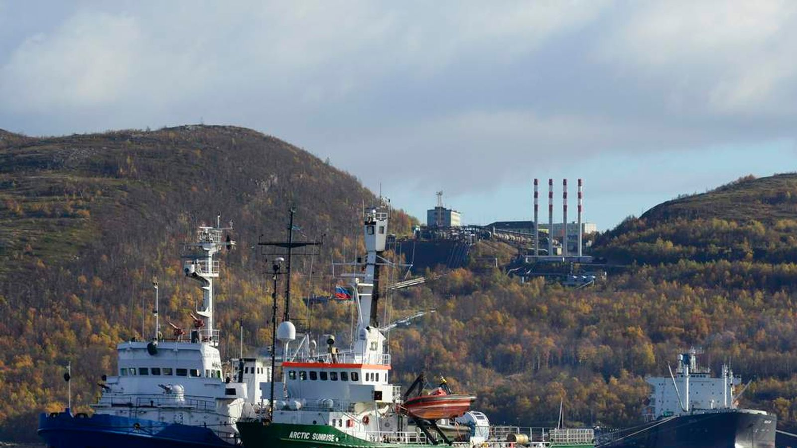 Greenpeace ship Arctic Sunrise is seen anchored outside the Arctic port city of Murmansk