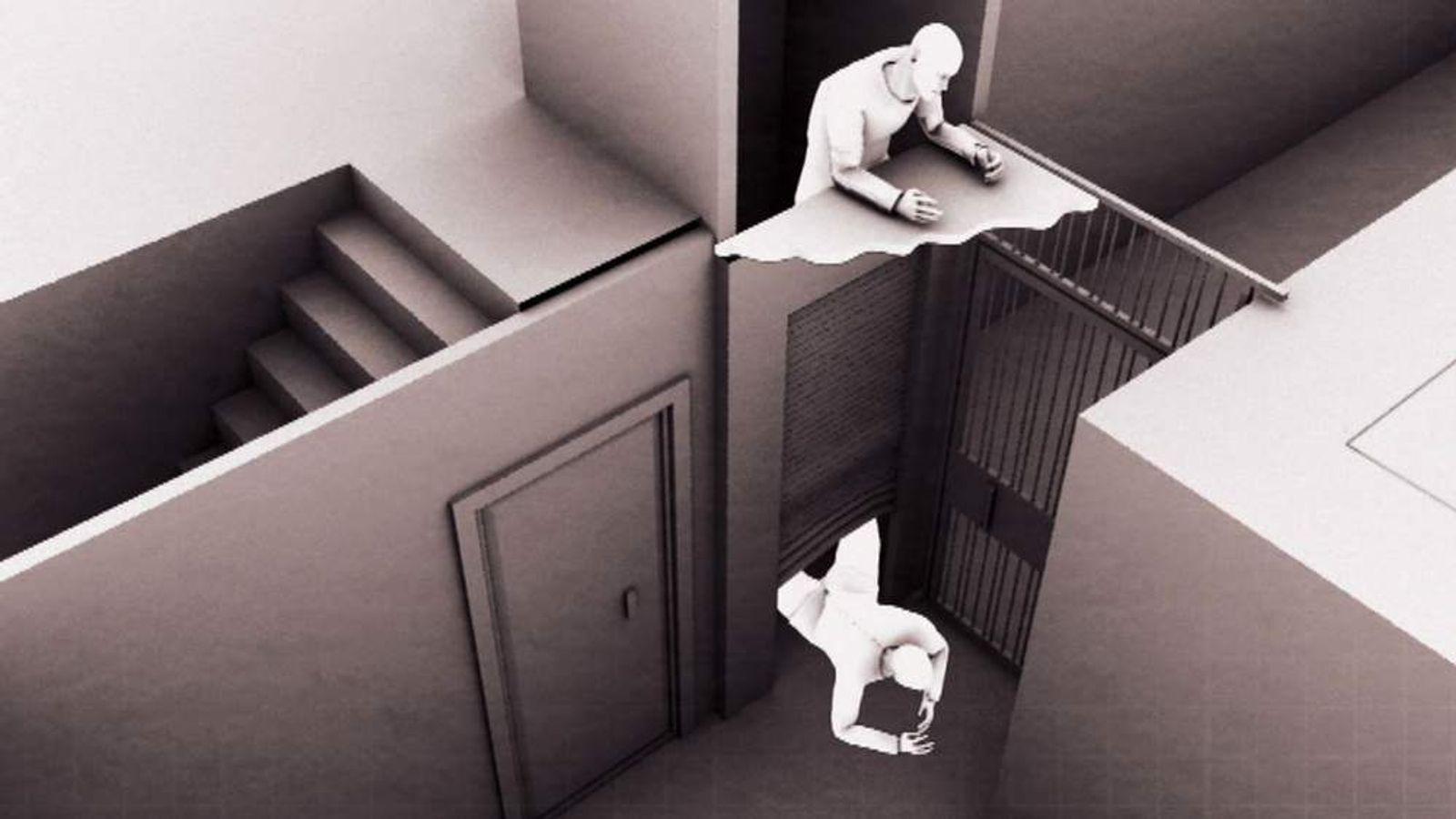 A 3D graphic showing men climbing down an elevator shaft