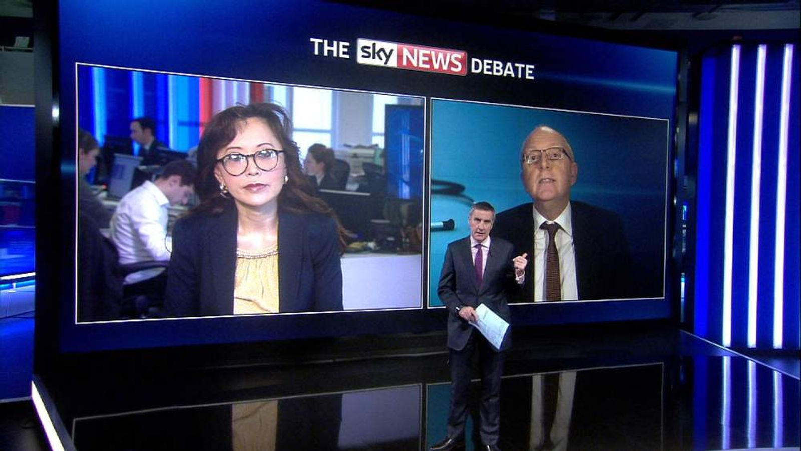 Dr Una Coales and Mike Bewick take part in the Sky News debate