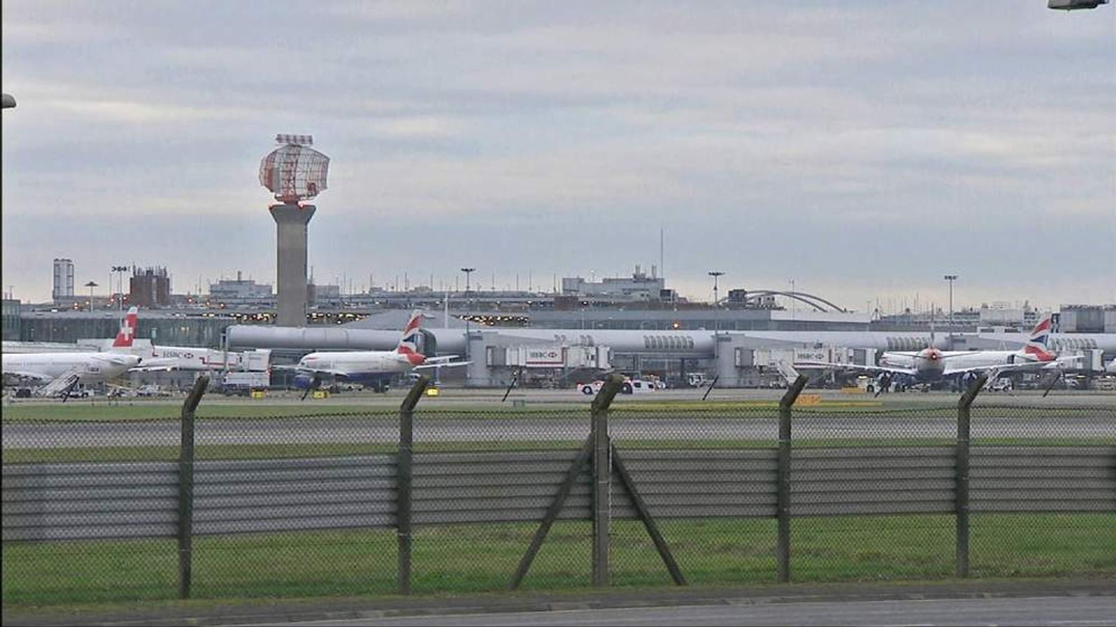 Grounded flights at Heathrow Airport