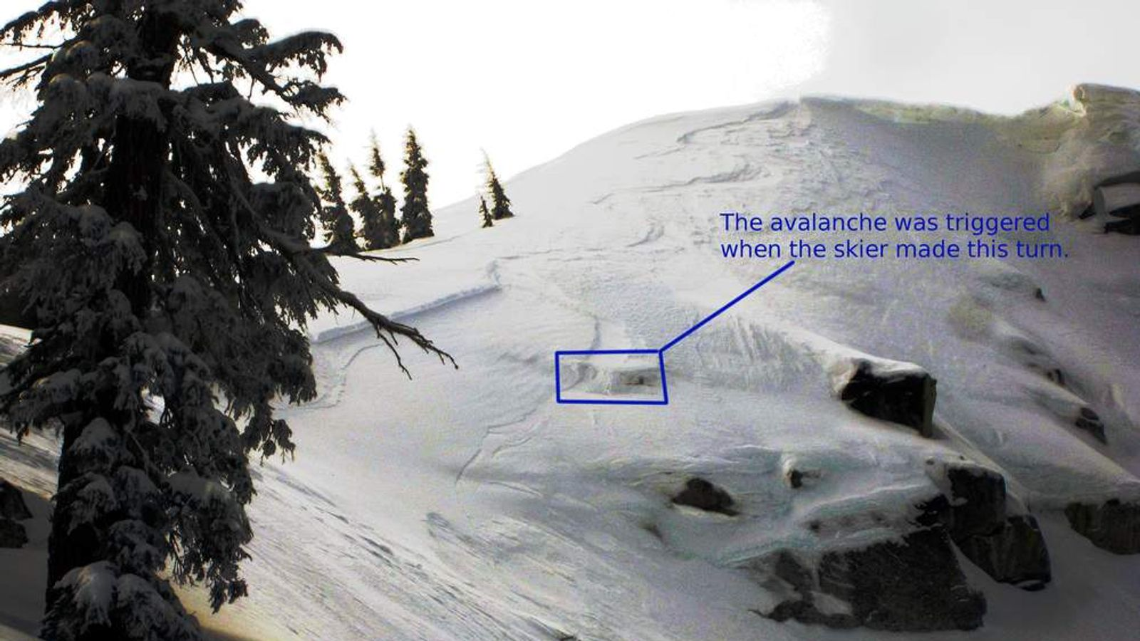 The avalanche trigger spot by the skier