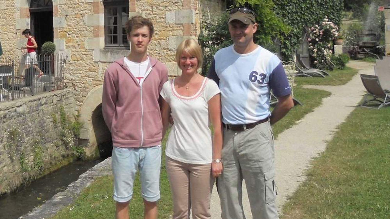 Joseph Lawton and his parents